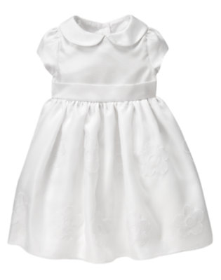 Toddler Girls White Collared Duppioni Dress by Gymboree