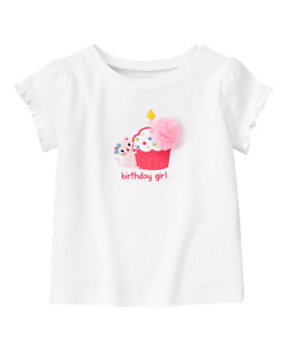 White Kitty Cupcake Birthday Tee by Gymboree