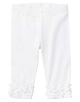 Toddler Girls White Ruffle Legging by Gymboree