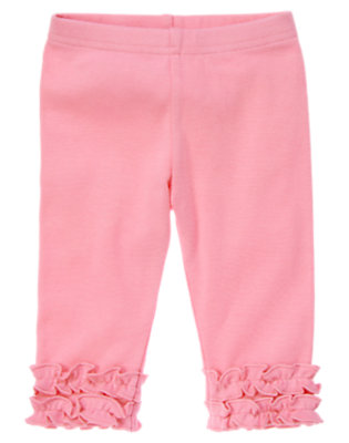 Toddler Girls Spring Pink Ruffle Capri Legging by Gymboree