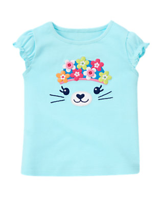 Light Sky Blue Flower Button Seal Tee by Gymboree