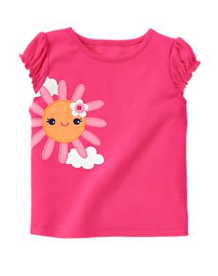 Zinnia Pink Flower Button Sun Tee by Gymboree