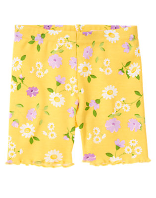 Toddler Girls Daisy Yellow Floral Daisy Violet Bike Short by Gymboree
