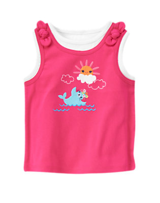 Zinnia Pink Sun & Seal Layered Tank Top by Gymboree