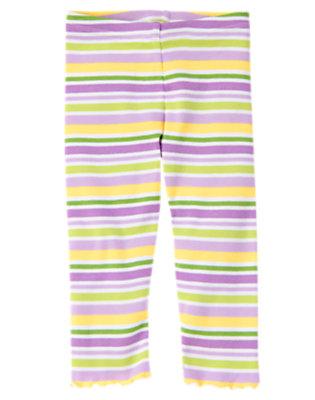 Toddler Girls Purple Posy Stripe Stripe Legging by Gymboree