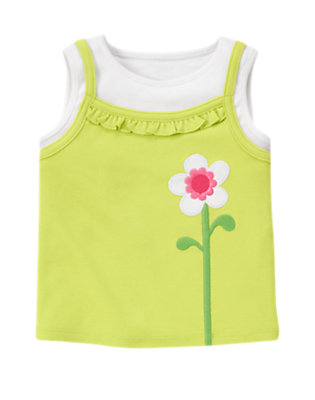 Green Limeade Flower Layered Tank Top by Gymboree