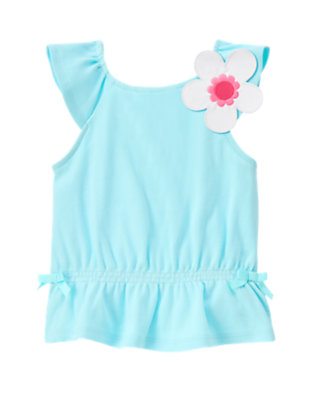 Light Sky Blue Bow Flower Tank Top by Gymboree