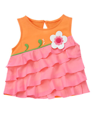Sunny Orange Flower Ruffle Tank Top by Gymboree