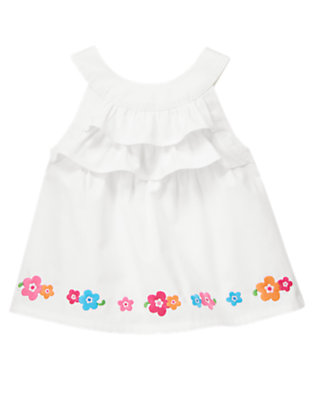Toddler Girls White Embroidered Flower Ruffle Top by Gymboree
