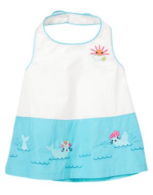 Toddler Girls Seal Blue Swimming Seal Halter Top by Gymboree