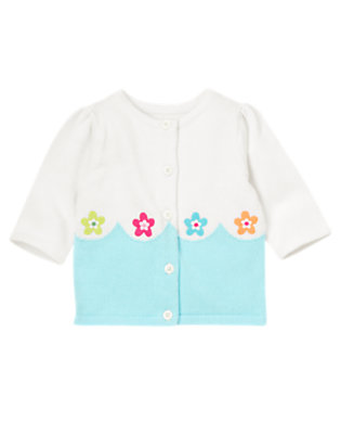 Toddler Girls White Flower Wave Sweater Cardigan by Gymboree