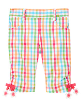 Zinnia Pink Check Flower Bow Gingham Pant by Gymboree