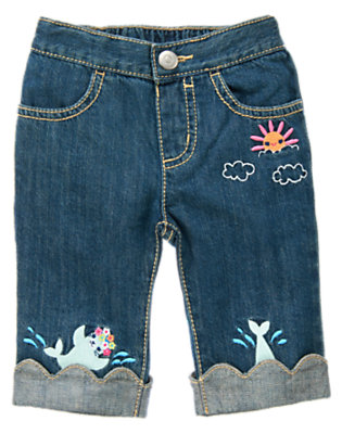 Denim Swimming Seal Scalloped Jean by Gymboree