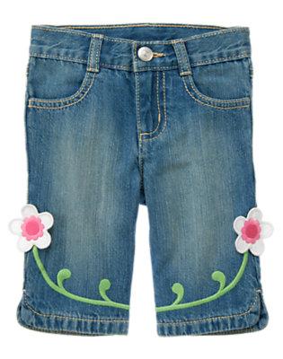 Toddler Girls Denim Flower Hem Jean by Gymboree