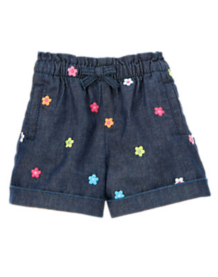 Chambray Embroidered Flower Chambray Short by Gymboree
