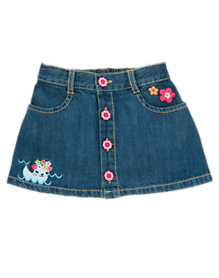Toddler Girls Denim Swimming Seal Jean Skirt by Gymboree