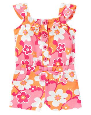 Toddler Girls Sunny Orange Flower Flower Button Romper by Gymboree