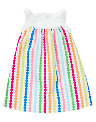 Toddler Girls Rainbow Dot Rainbow Dot Stripe Pique Dress by Gymboree