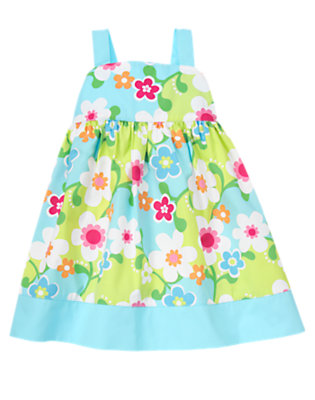 Toddler Girls Green Limeade Flower Flower Dress by Gymboree