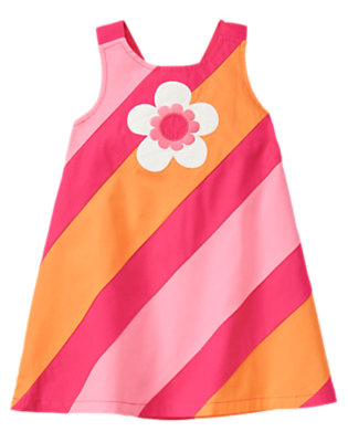 Toddler Girls Sunny Orange Stripe Flower Stripe Dress by Gymboree