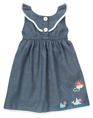 Toddler Girls Chambray Swimming Seal Chambray Dress by Gymboree