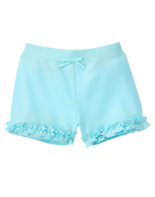 Toddler Girls Light Sky Blue Ruffle Bow Short by Gymboree