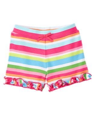Toddler Girls Rainbow Stripe Ruffle Bow Stripe Short by Gymboree