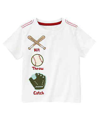 White Hit Throw Catch Tee by Gymboree
