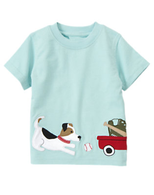 Ballpark Blue Puppy Wagon Tee by Gymboree