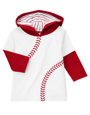 White Hooded Double Sleeve Baseball Tee by Gymboree