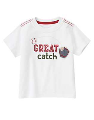 White Great Catch Tee by Gymboree