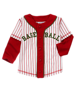 White Stripe Baseball Jersey by Gymboree