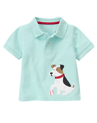 Ballpark Blue Baseball Puppy Pique Polo Shirt by Gymboree