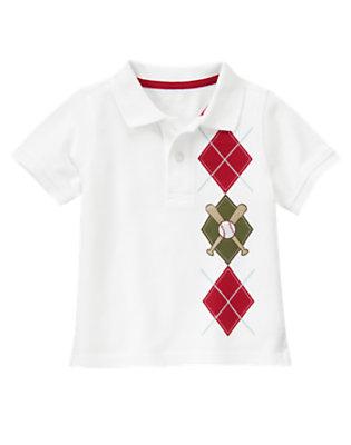 White Baseball Argyle Pique Polo Shirt by Gymboree
