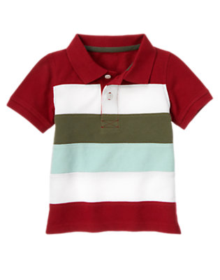 Baseball Red Pieced Stripe Pique Polo Shirt by Gymboree