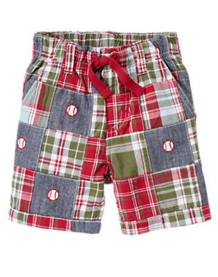 Olive Green Patchwork Baseball Plaid Patchwork Short by Gymboree