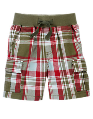 Olive Green Plaid Pull-On Plaid Cargo Short by Gymboree