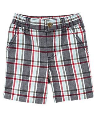 Chambray Blue Plaid Plaid Short by Gymboree