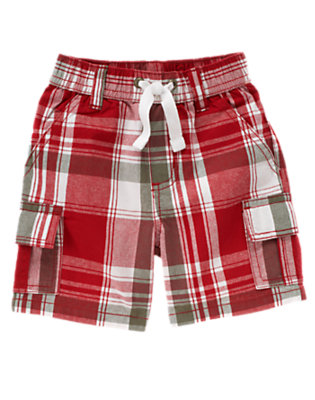 Baseball Red Plaid Pull-On Plaid Cargo Short by Gymboree