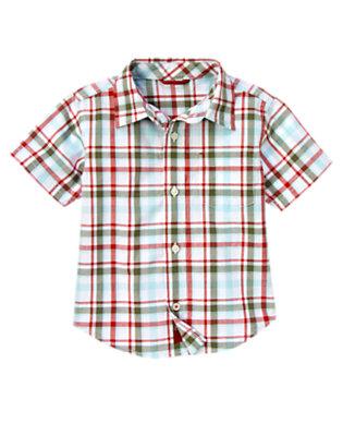 White Plaid Pocket Plaid Shirt by Gymboree