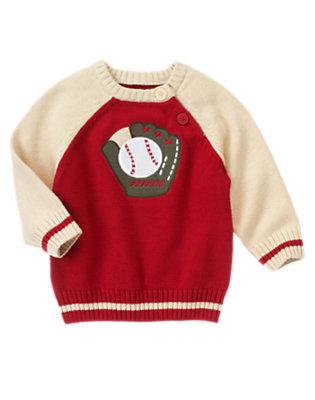 Toddler Boys Baseball Red Baseball Glove Sweater by Gymboree