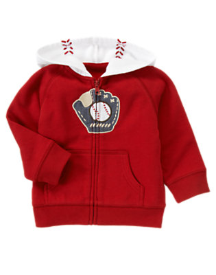 Baseball Red Baseball Glove Zip Hoodie by Gymboree