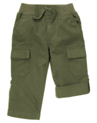 Olive Green Roll Cuff Canvas Pant by Gymboree