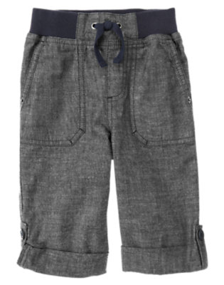 Toddler Boys Chambray Blue Roll Cuff Chambray Pant by Gymboree