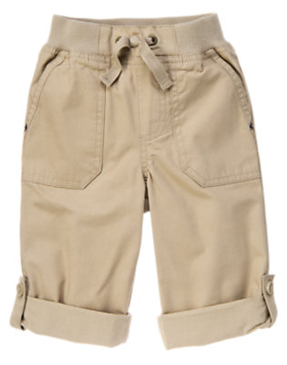 Khaki Roll Cuff Canvas Pant by Gymboree