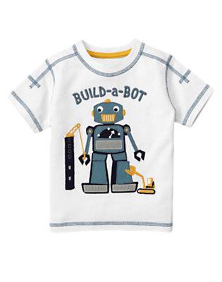 White Build-A-Bot Tee by Gymboree