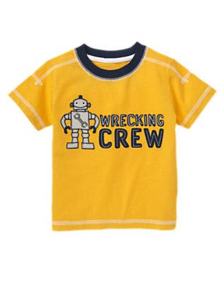 Goldenrod Yellow Wrecking Crew Robot Tee by Gymboree
