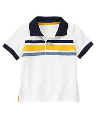 White Chest Stripe Pique Polo Shirt by Gymboree