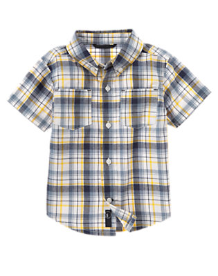 Goldenrod Yellow Plaid Pocket Plaid Shirt by Gymboree