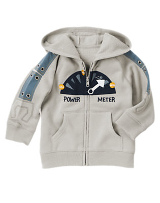 Misty Grey Power Meter Robot Hoodie by Gymboree